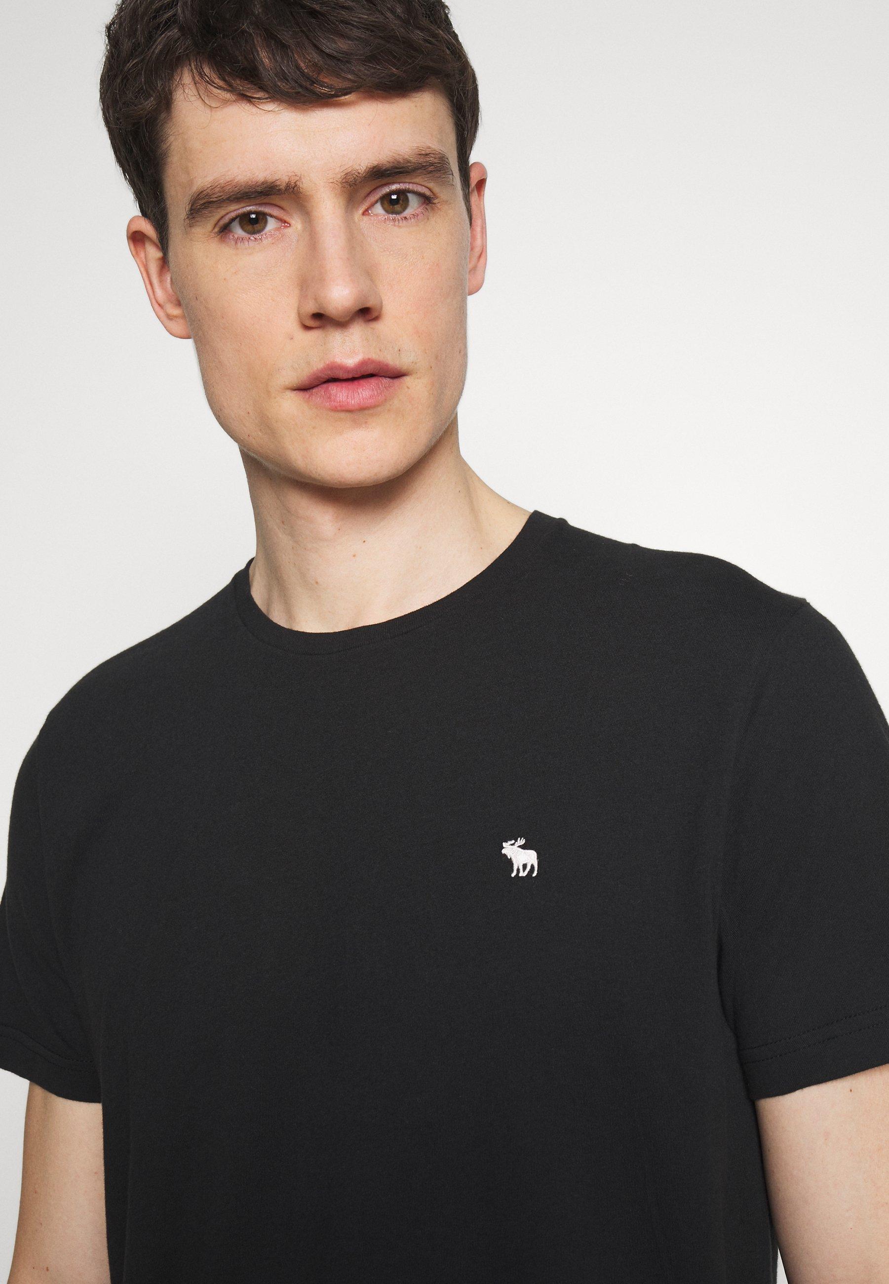 Abercrombie & Fitch CURVED HEM ICON - Camiseta básica - black vFTug