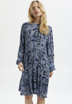 Shirt dress - blue paisley print