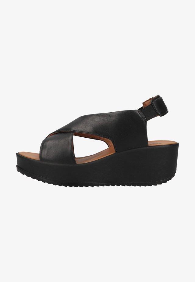 Sandały na platformie - nero