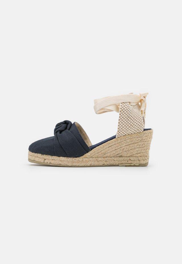 KNOT VEGAN - Korkeakorkoiset sandaalit - navy