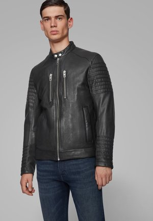 JORDON - Leather jacket - black