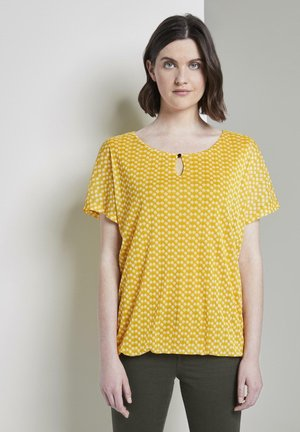 TOM TAILOR T-SHIRT GEMUSTERTES T-SHIRT MIT MESH-OVERLAYER - Blouse - yellow dot design