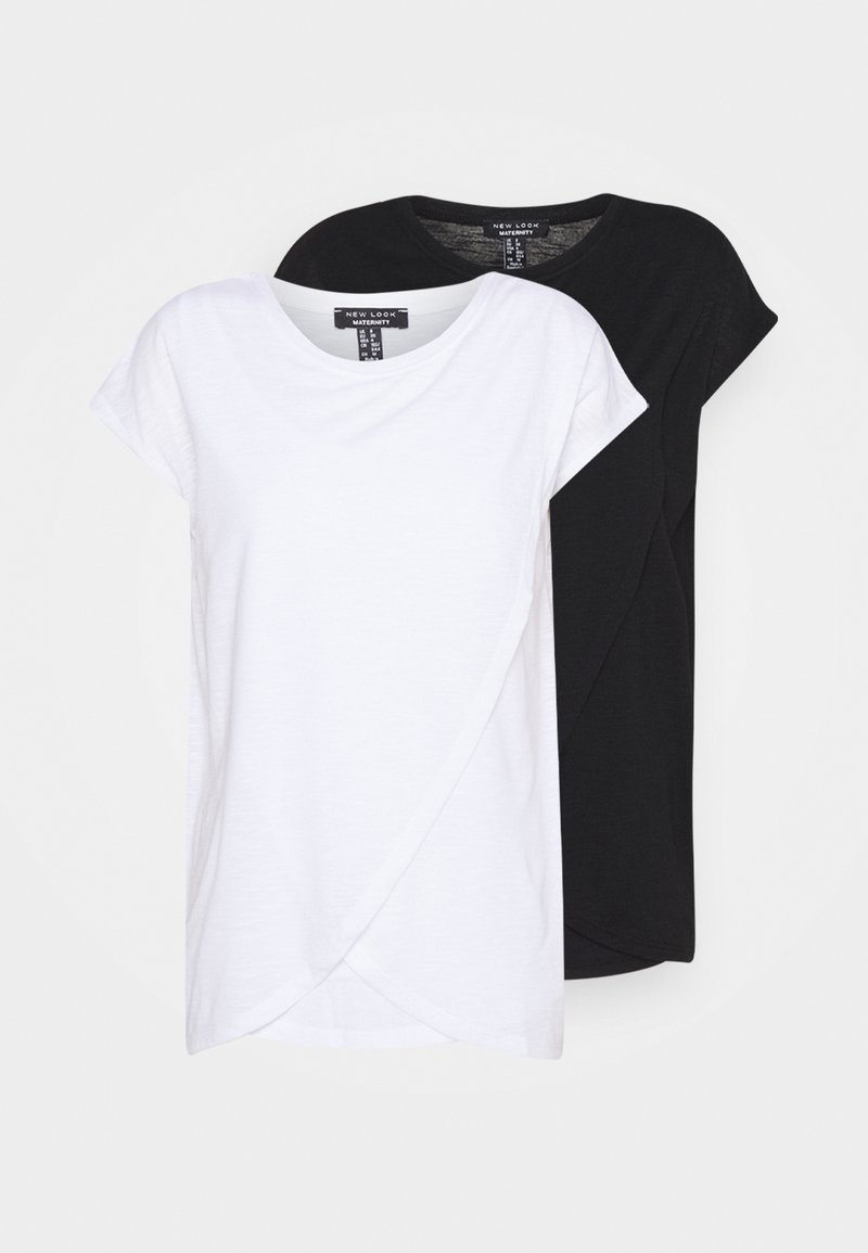New Look Maternity - NURSING WRAP TEE 2PACK - T-shirts med print - black/white