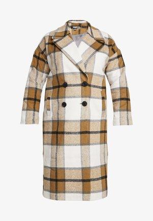 MUSTARD CHECK COCOON COAT - Classic coat - brown