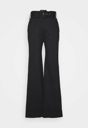 BELTED JERSEY TROUSER - Bukse - black