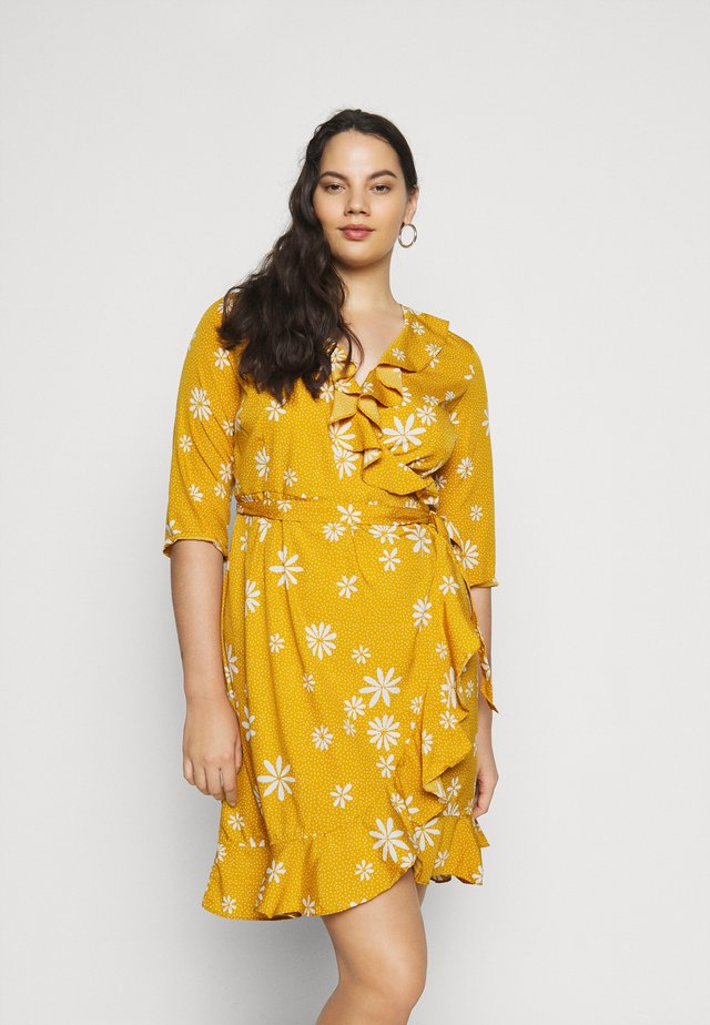 VMLYA 3/4 ABOVE KNEE DRESS - Day dress - mustard