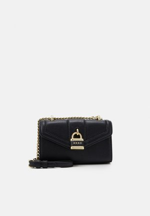 ELLA MINI FLAP SHOULDER - Across body bag - black/gold-coloured