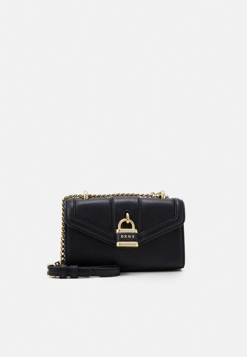 DKNY - ELLA MINI FLAP SHOULDER - Across body bag - black/gold-coloured