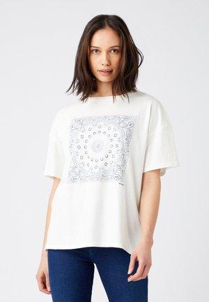Print T-shirt - worn white