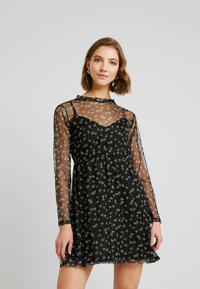 HIGH NECK DRESS - Korte jurk - black