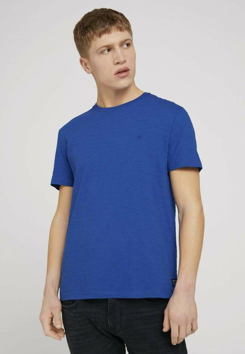 TOM TAILOR DENIM - Print T-shirt - shiny royal non solid
