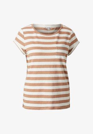 MIT SCHMUCK-DETAIL - Print T-shirt - caramel stripes