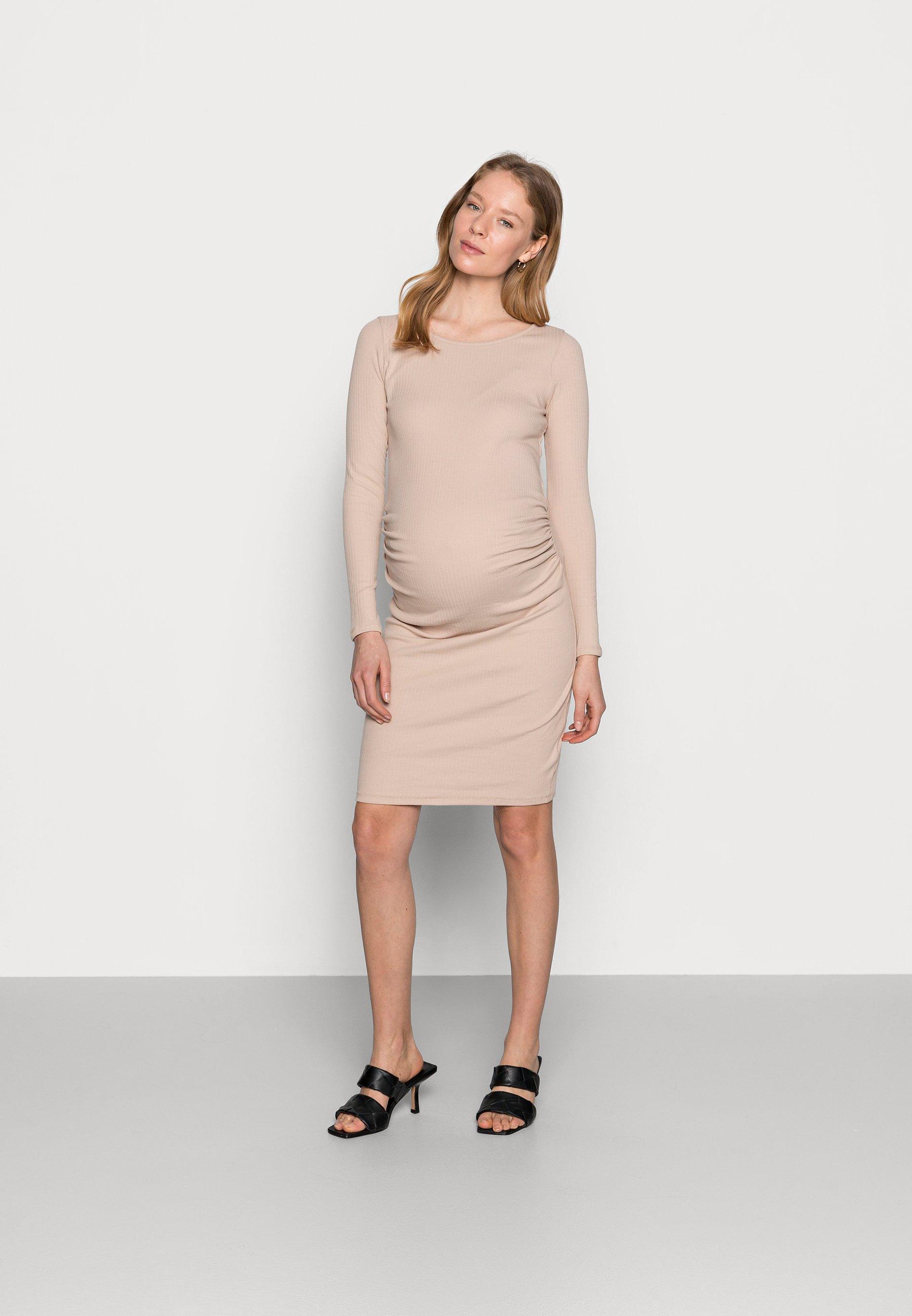 Women MATERNITY LETTUCE EDGE LONG SLEEVE DRESS - Jersey dress