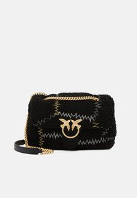 Pinko - LOVE CLASSIC PUFF FURRY CLECOMONTONE RICAMO PATCH - Across body bag - black - 1