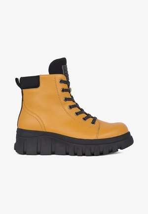 Lace-up ankle boots - yellow