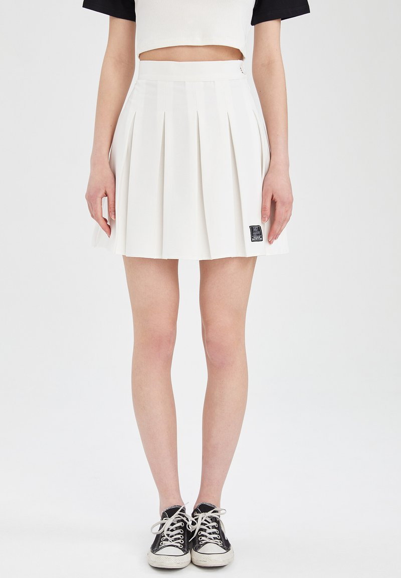 DeFacto - REGULAR FIT - Pleated skirt - ecru