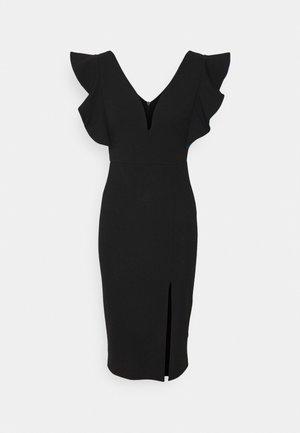 V NECK RUFFLE SLEEVE MIDI DRESS - Koktejlové šaty/ šaty na párty - black/royal blue