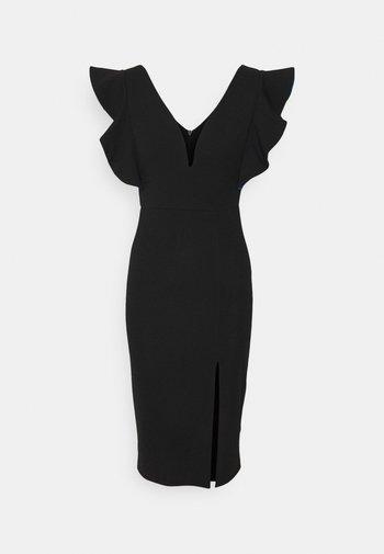 V NECK RUFFLE SLEEVE MIDI DRESS - Vestito elegante - black/royal blue