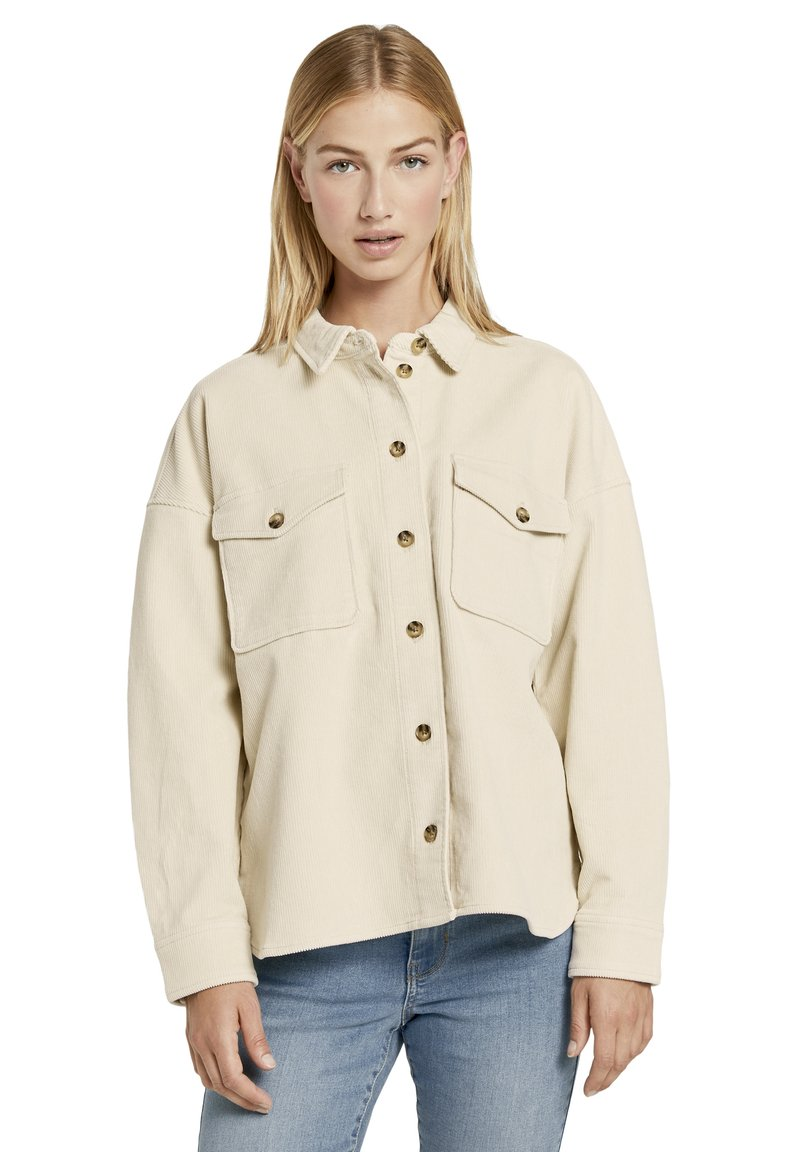 TOM TAILOR DENIM - Button-down blouse - soft creme beige