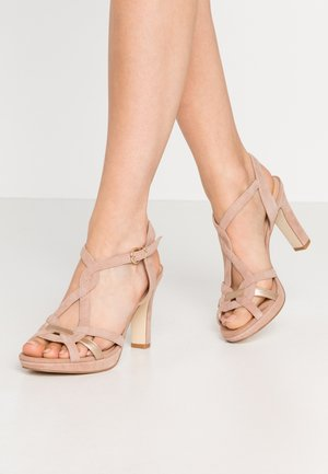 LEATHER HEELED SANDALS - High heeled sandals - beige
