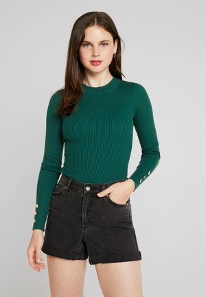 BUTTON CUFF CREW NECK - Jumper - forest green