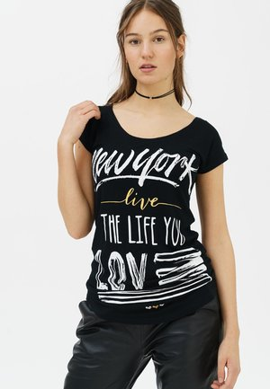 MIT RUNDHALS - Print T-shirt - black