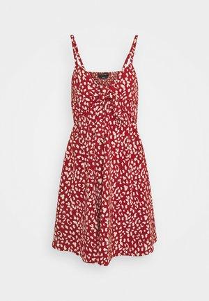 JODY LEOPARD SPAGHETTI MINI DRESS - Day dress - red