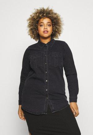 CARMIKKA LONG SHIRT - Button-down blouse - dark grey denim