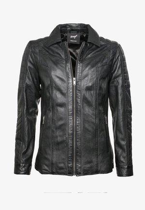 MIT FEINEN ZIERNÄHTEN - Leather jacket - black