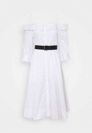 COLD SHOULDER SHIRT DRESS - Day dress - white