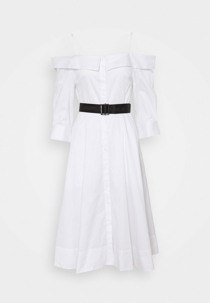 KARL LAGERFELD - COLD SHOULDER SHIRT DRESS - Vestito estivo - white