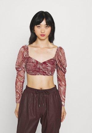 MILKMAID SWIRL PRINT RUCHED TOP - Long sleeved top - burgundy