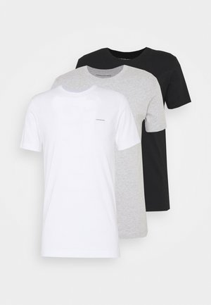 3 PACK TEE - Basic T-shirt - black/ grey heather/bright white