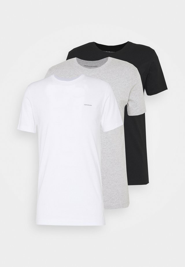 TEE 3 PACK  - T-shirts - black/ grey heather/bright white