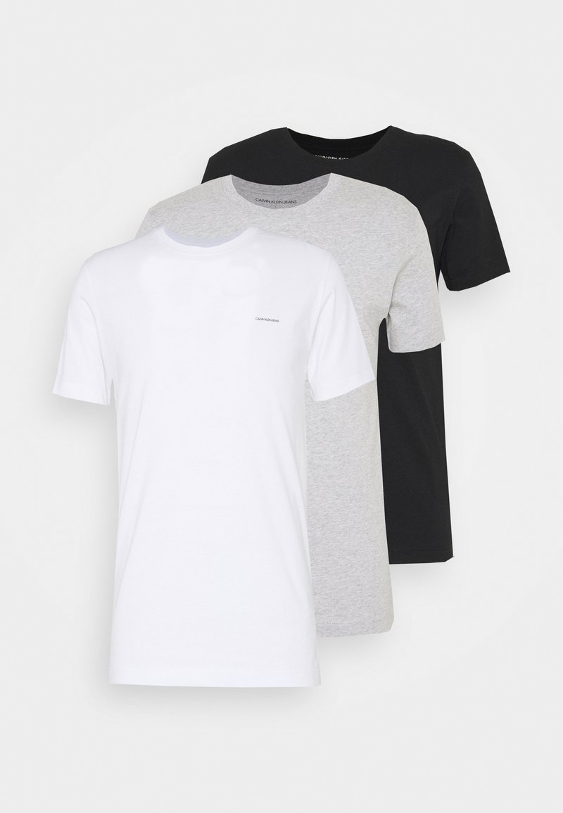Calvin Klein Jeans - 3 PACK  - Basic T-shirt - black/ grey heather/bright white