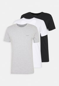 3 PACK SLIM TEE - Basic T-shirt - black/ grey heather/bright white