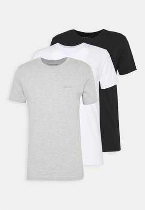 3 PACK SLIM TEE - T-shirt basique - black/ grey heather/bright white