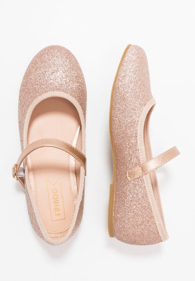 Ankle strap ballet pumps - champagne