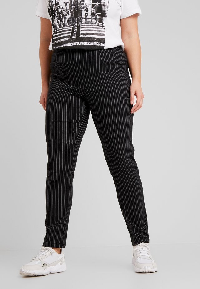 STRIPE SLIM TROUSER - Trousers - black