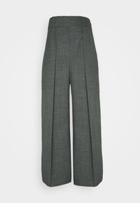 HIGH WAISTED ONE PLEAT - Trousers - slate grey melange