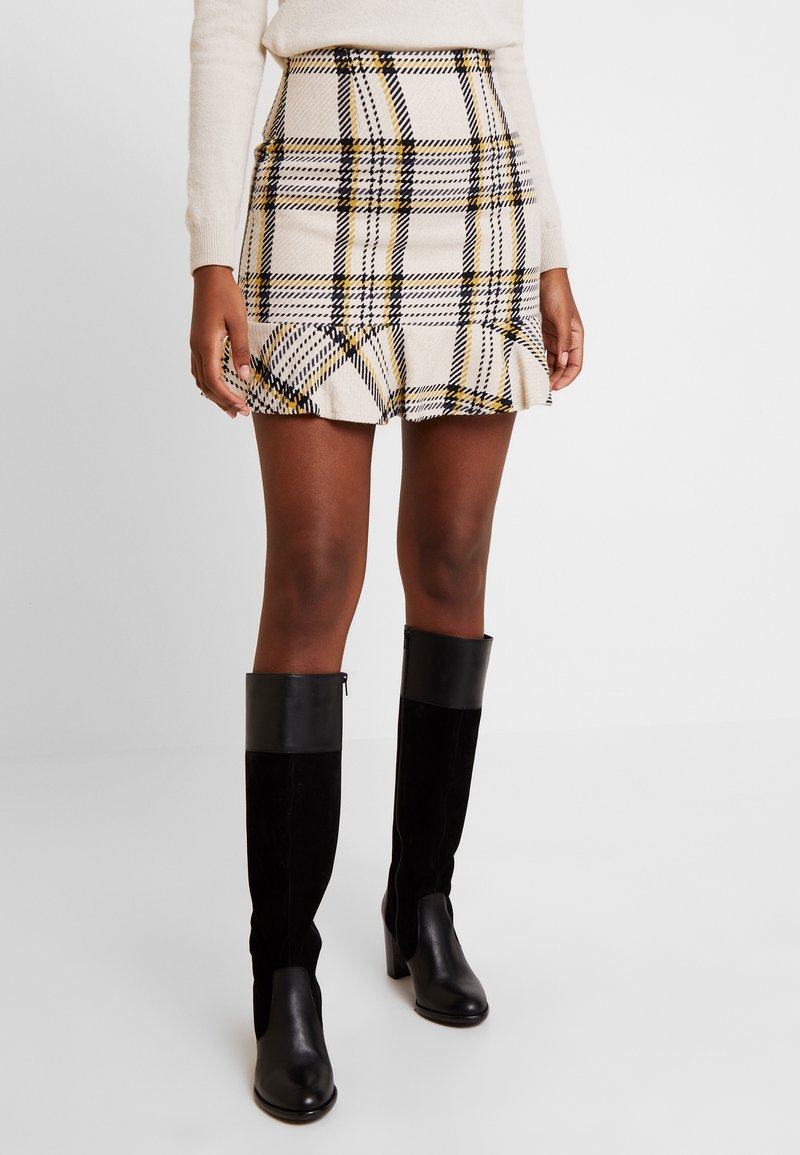 EDITED - EBBA SKIRT - Mini skirt - cream/navy