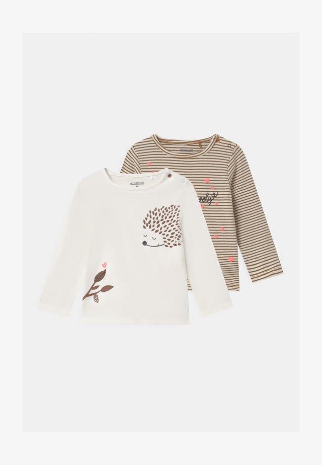 2 PACK - Long sleeved top - white/beige