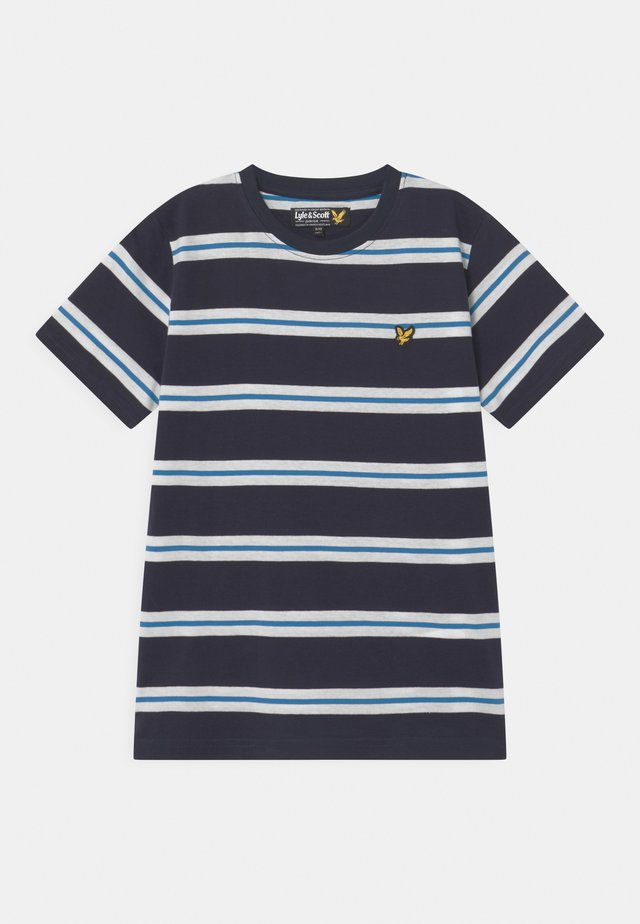 WIDE DOUBLE STRIPE  - Print T-shirt - navy blazer