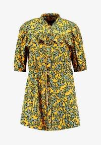 Topshop Petite - FLORAL PLEAT TRIM MINI DRESS - Košilové šaty - yellow - 5