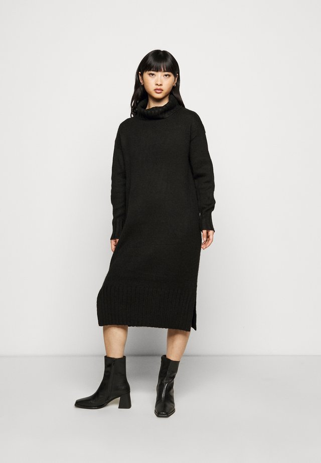 ROLL NECK DRESS - Sukienka dzianinowa - black