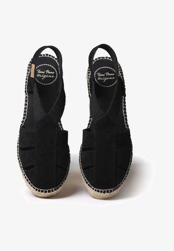 TRAPA - Wedge sandals - black
