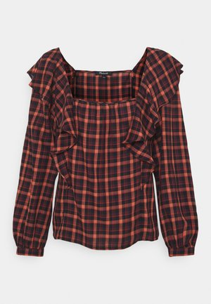 SIDE RUFFLE PLAID - Blouse - stacked