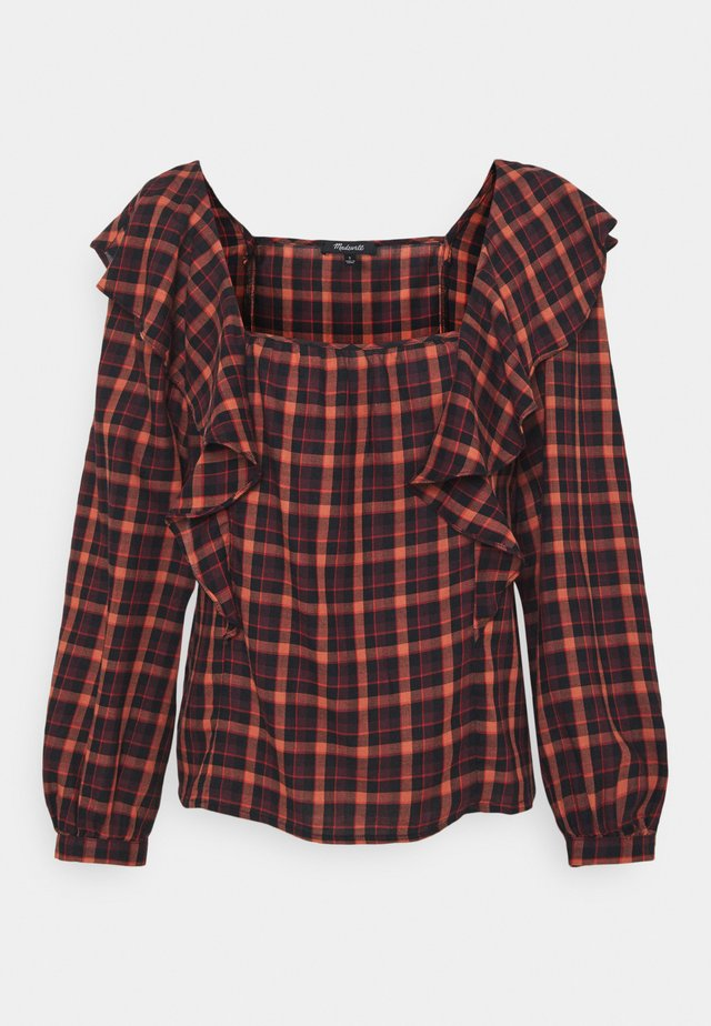 SIDE RUFFLE PLAID - Pusero - stacked