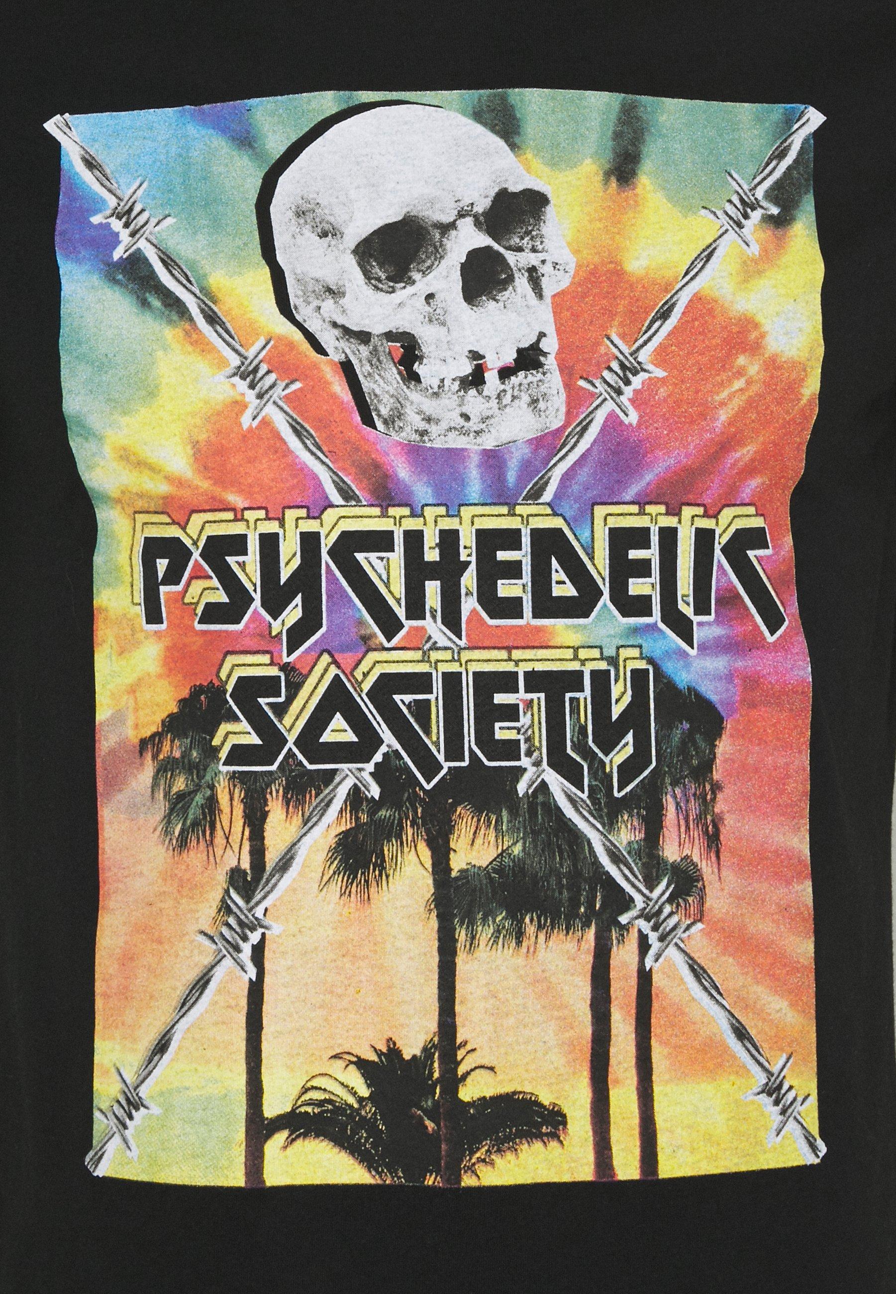 Brave Soul PSYCHE - Print T-shirt - black/multi-colour KGbLh
