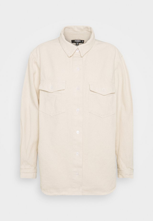 SUPER OVERSIZED BOYFRIEND - Button-down blouse - sand
